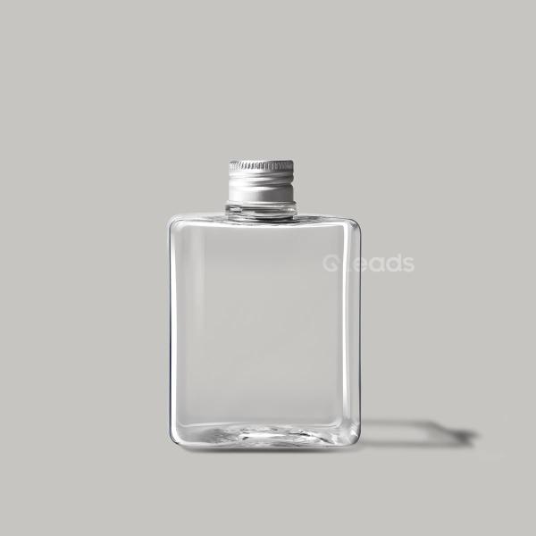 小口250ml透明方形铝盖pet塑料瓶