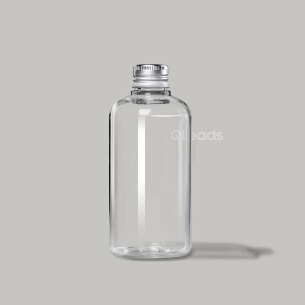 小口250ml透明圆肩圆形铝盖塑料瓶