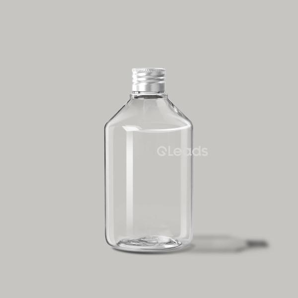 小口300ml透明小斜肩圆形铝盖塑料瓶