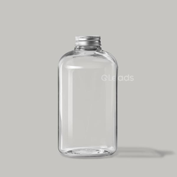 小口500ml透明扁形铝盖塑料瓶