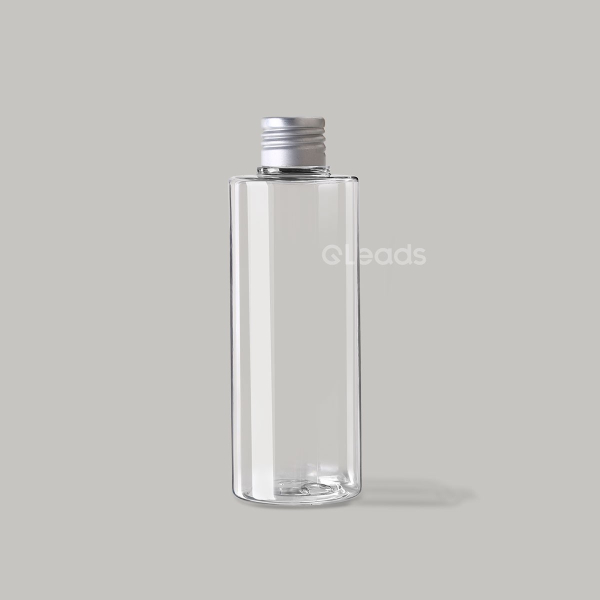 小口200ml透明平肩圆形铝盖塑料瓶
