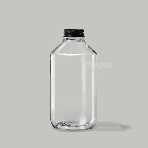 500ml透明斜肩圆形铝盖pet塑料瓶