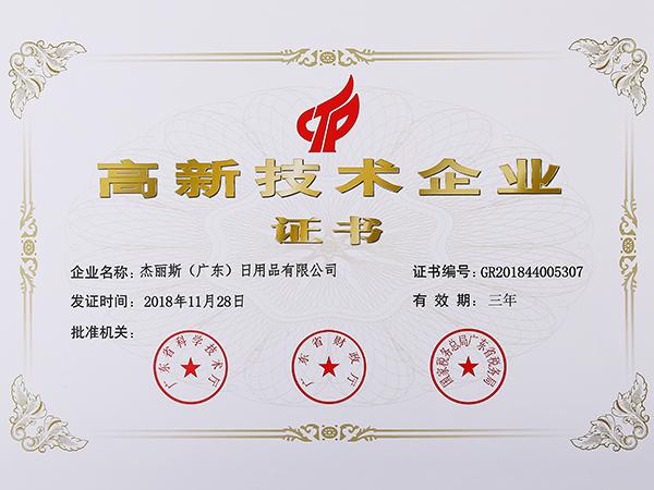 杰丽斯-高新技术企业证书